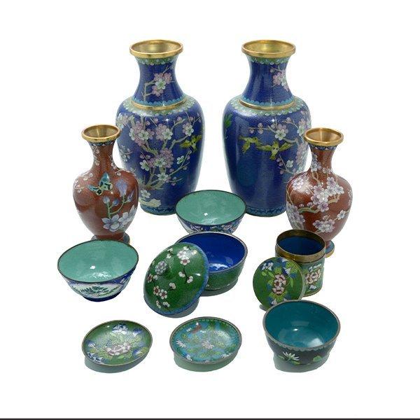 A Group of CloisonnÈ Enamel Vases