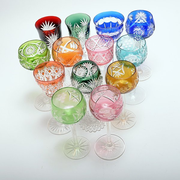 Thirteen Bohemian Flashed and Cut Glass Wine Glasses