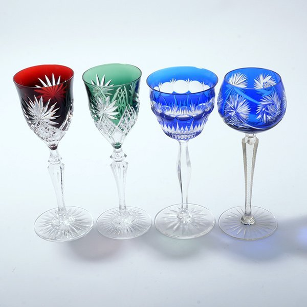 Thirteen Bohemian Flashed and Cut Glass Wine Glasses - 2