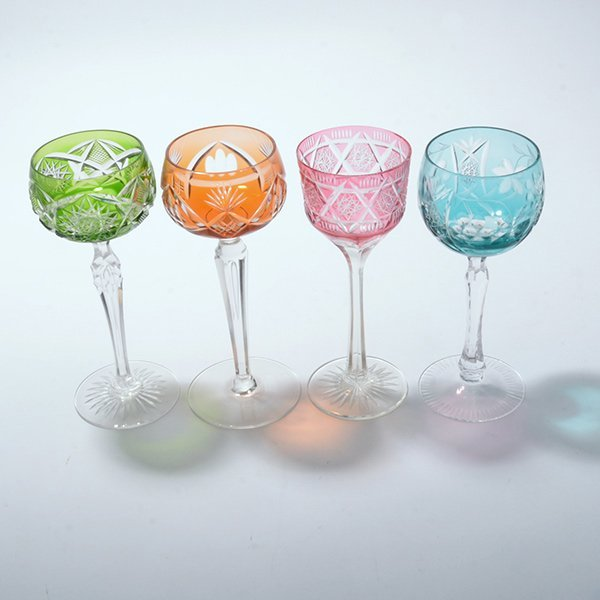 Thirteen Bohemian Flashed and Cut Glass Wine Glasses - 3