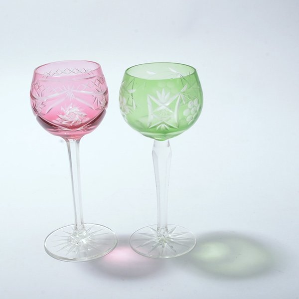 Thirteen Bohemian Flashed and Cut Glass Wine Glasses - 5