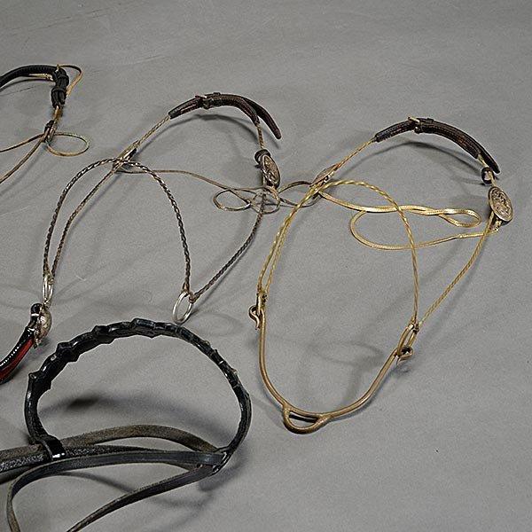 Three Brass Arabian Horse Show Halters, Leather Bridle, - 4