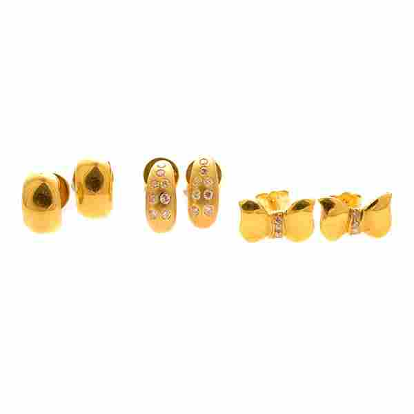 3 Pairs of Diamond, Yellow Gold Earrings.