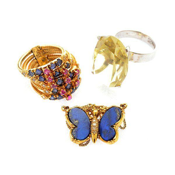 3 Multi-Stone, Diamond, Gold Jewelry Items.