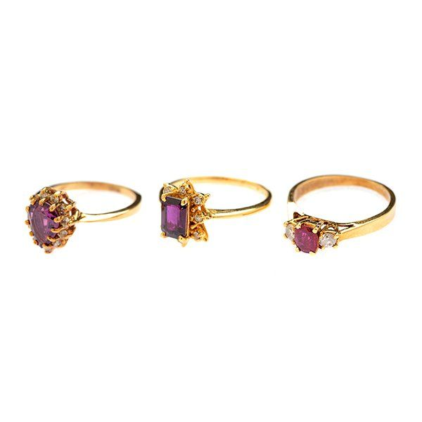 Collection of Three Sapphire, Ruby, Diamond, 14k Yellow