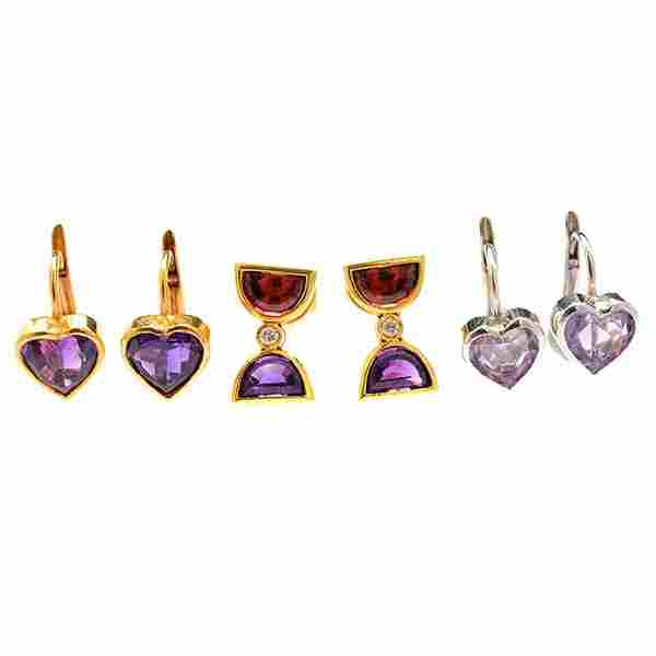 3 Pairs of Multi-Stone, Diamond, 14k Y/G Earrings.