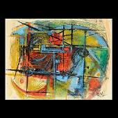 REUBEN TAM WatercolorGouache on Paper Abstract Art