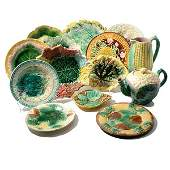 Collection of Majolica Plates and Vegetable Form Table