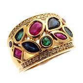 Sapphire, Emerald, Diamond, 14k Yellow Gold Ring.