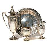 Whiting Sterling Three Piece Coffee Service and Bowl