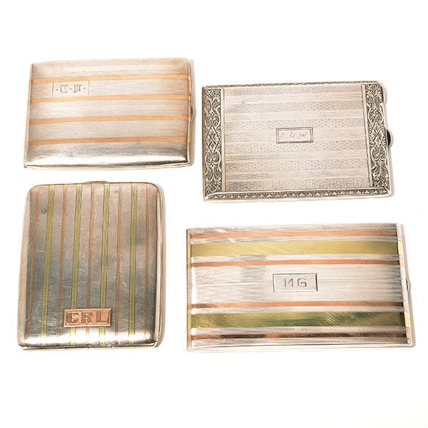 Three Sterling & Gold Inlaid Cigarette Cases and an