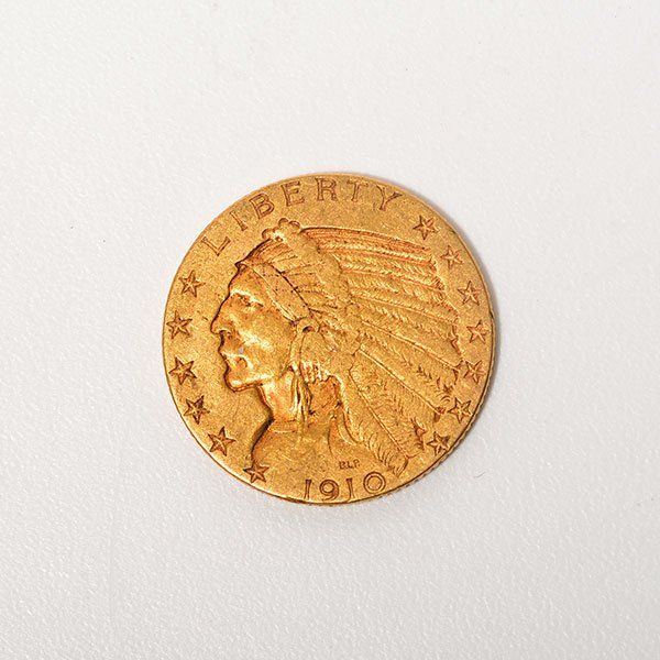 US 1910 $5 Gold Indian Head, F - VF Condition.