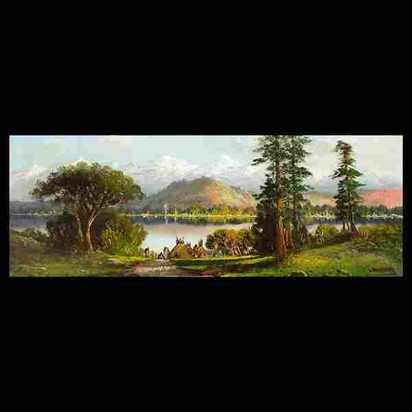 """ENGLEHART """"Indian Camp on Lake"""" Oil on Canvas."""