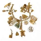 Multi-Stone, Yellow Gold Charm Bracelet.