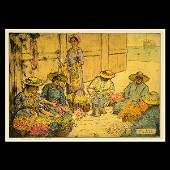 """CHARLES W. BARTLETT """"Lei Day"""" Colored Etching."""
