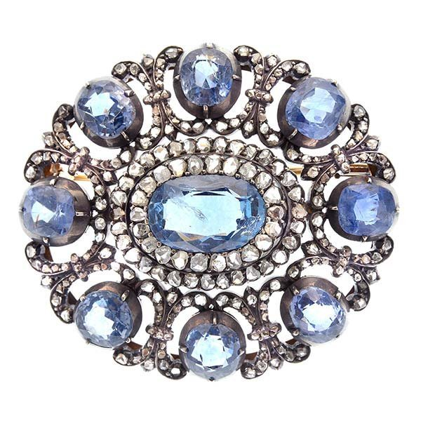 Victorian Sapphire, Diamond, Silver-Topped, 14k Yellow