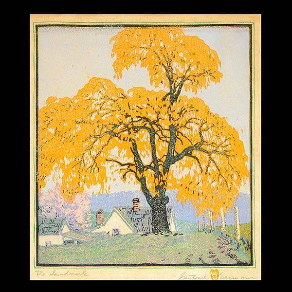 GUSTAVE BAUMANN, The Landmark Woodblock Print, Signed