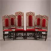 Set of Six Continental Baroque Style Walnut Chairs