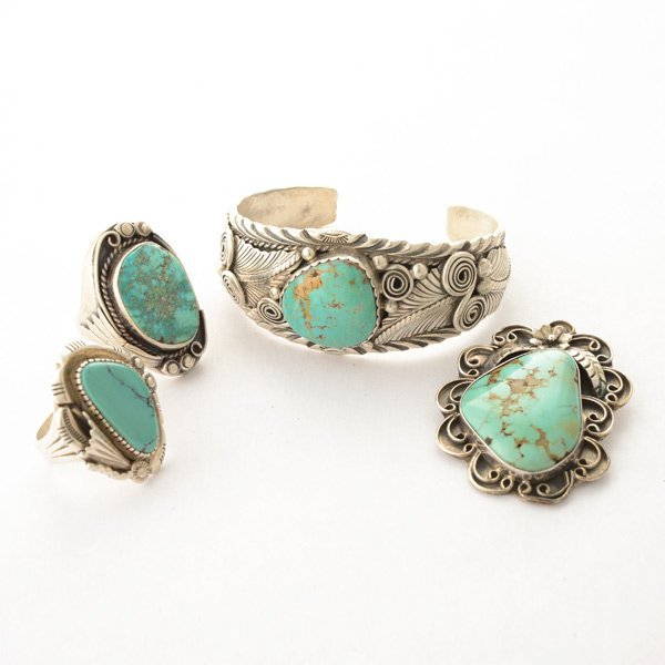Collection of Turquoise, Sterling Silver Jewelry Items.