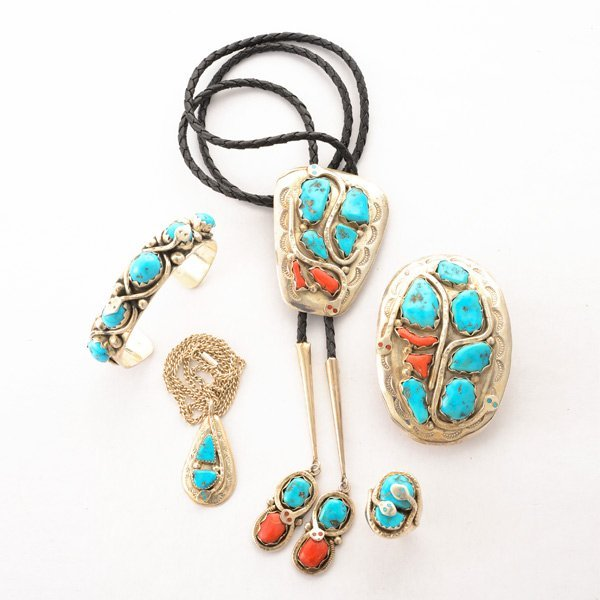 *Turquoise, Coral, Sterling Silver, Leather Effie C.
