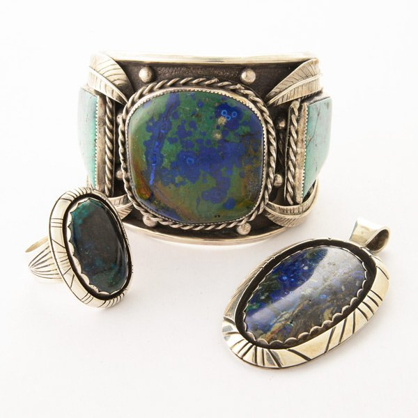Azurite, Turquoise, Sterling Silver Jewelry Suite.