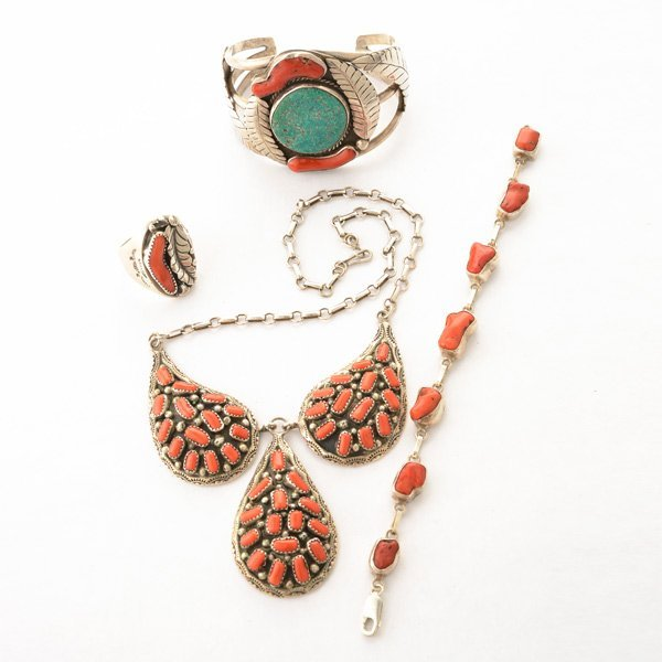 *Native American Coral, Turquoise, Sterling Silver