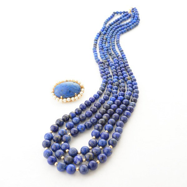 Lapis Lazuli, Cultured Pearl, 14k Yellow Gold Jewelry
