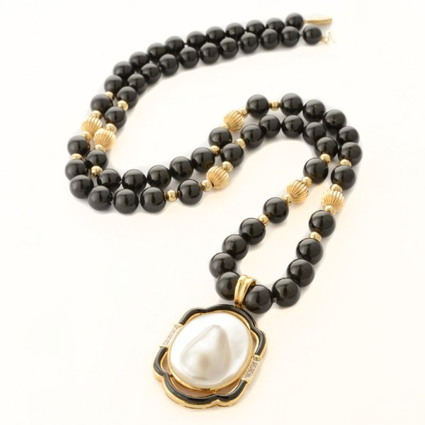 Cultured Blister Pearl, Diamond, Black Onyx, 14k Yellow