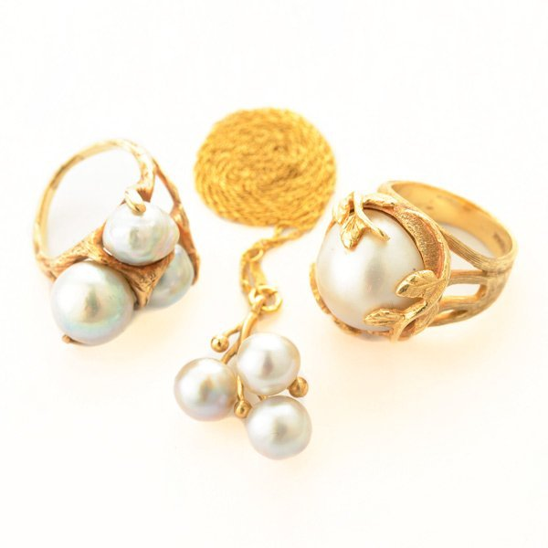 Collection of Three Cultured Pearl, Yellow Gold Jewelry