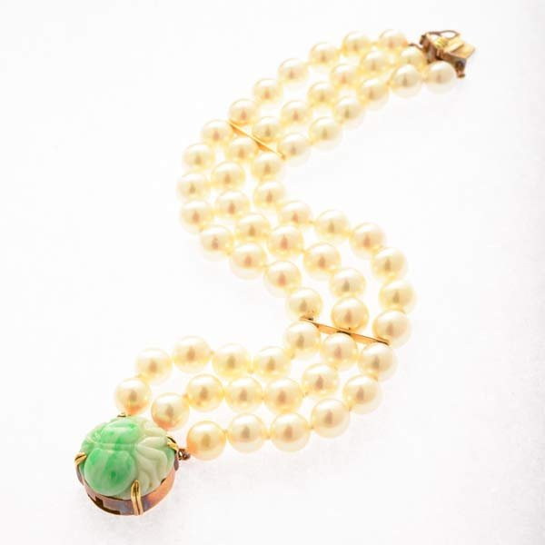 Gumps Cultured Pearl, Jade, 14k Yellow Gold Bracelet.