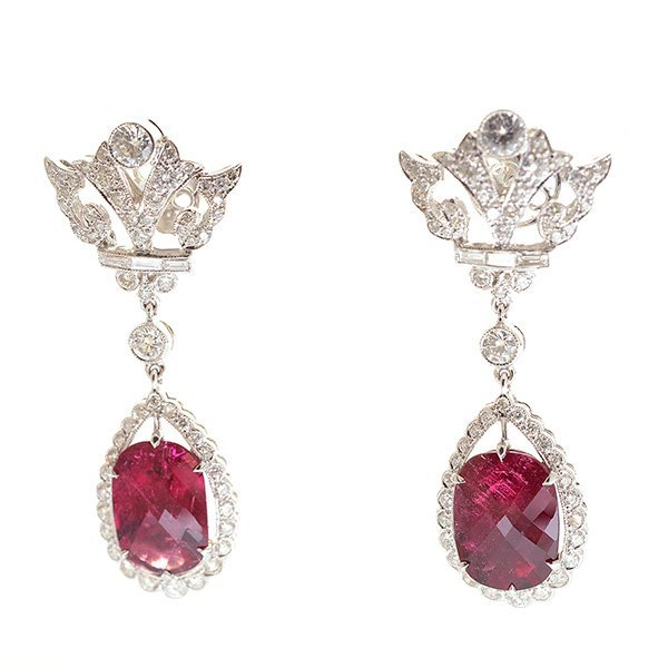 Pair of Tourmaline, Diamond, 18k White Gold Earrings.