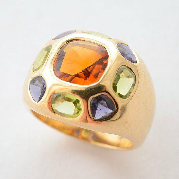 Citrine, Peridot, Amethyst, 14k Yellow Gold Ring.