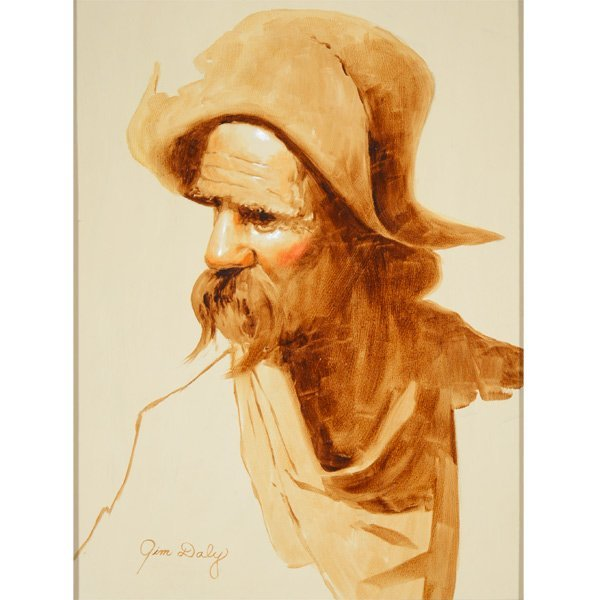 """JIM DALY """"Old Man"""" Oil on Canvas, American Art"""
