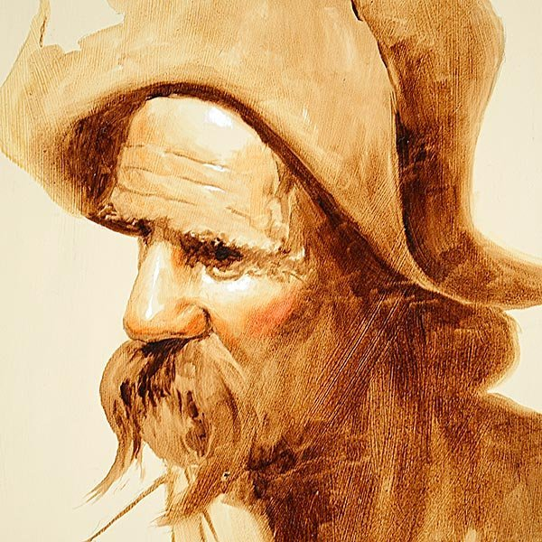 """JIM DALY """"Old Man"""" Oil on Canvas, American Art - 3"""