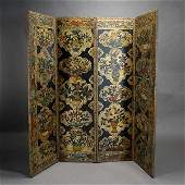 Spanish Polychrome Leather Four Panel Screen