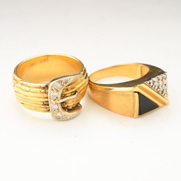 Collection of Two Diamond, Black Onyx, 14k Yellow Gold