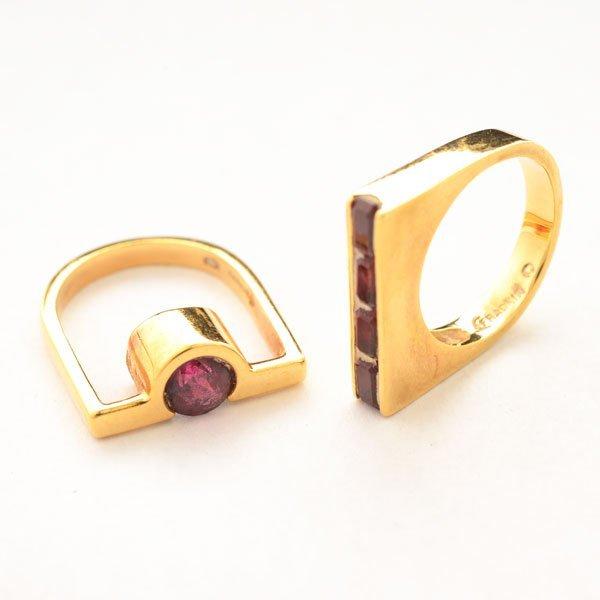 Garnet, 14k Yellow Gold Ring Set.
