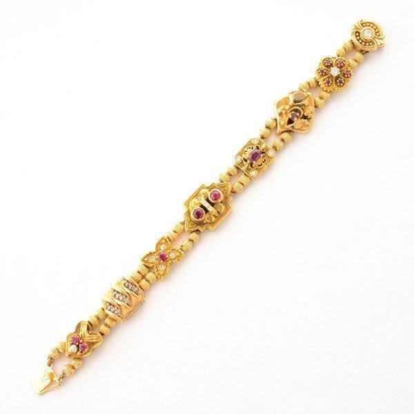 Diamond, Ruby, Citrine, 14k Yellow Gold Slide Bracelet.
