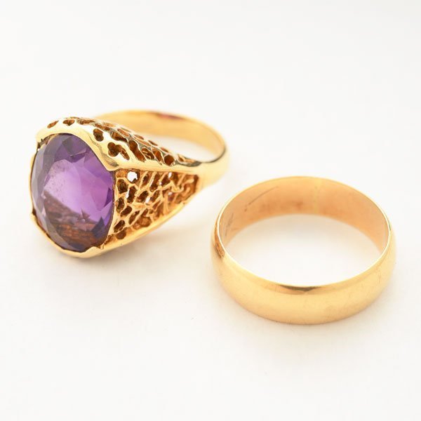Collection of Two Amethyst, 14k Yellow Gold Rings.