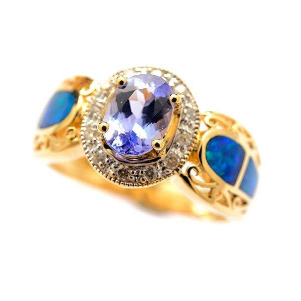 Tanzanite, Opal, Diamond, 14k Yellow Gold Ring.