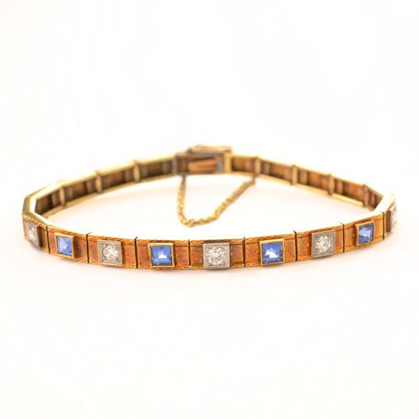 Diamond, Synthetic Sapphire, 14k Yellow Gold Bracelet.