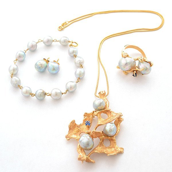 Cultured Pearl, Sapphire, 14k Yellow Gold Jewelry