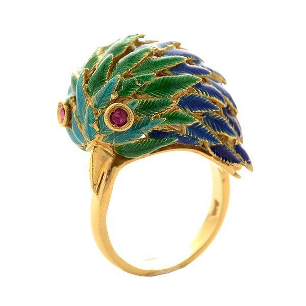 Enamel, Ruby, 18k Yellow Gold Bird Ring.