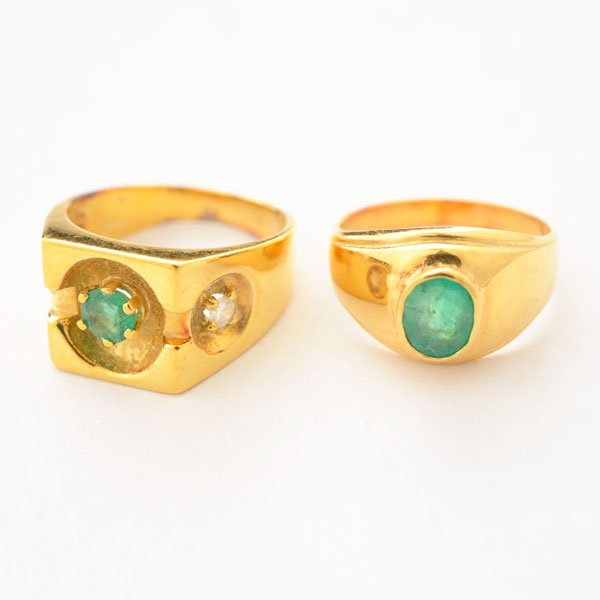 Collection of Two Emerald, Diamond, 18k Yellow Gold