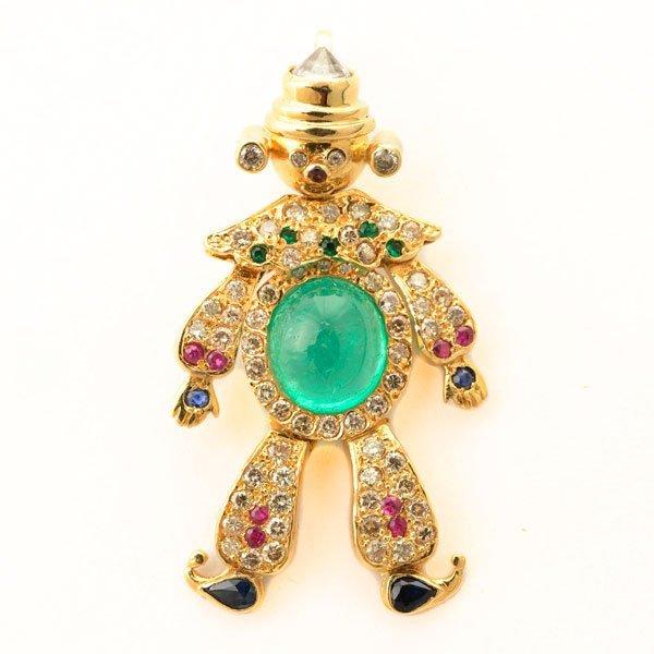 Emerald, Diamond, Ruby, Sapphire, Glass, 18k Yellow