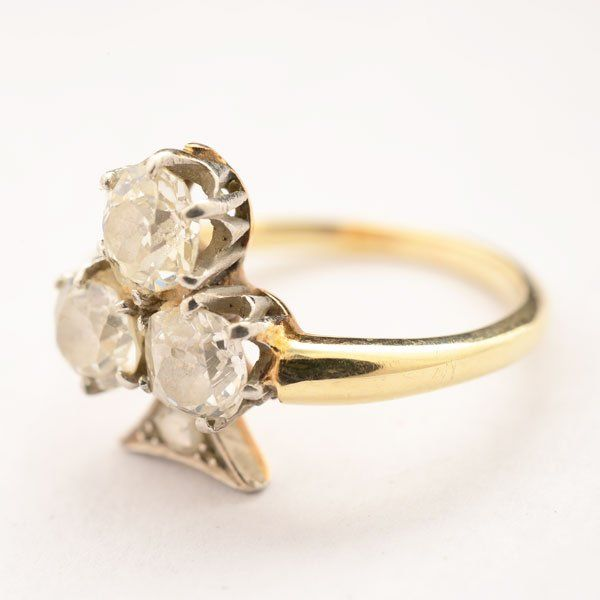 Victorian Diamond, 14k Yellow Gold Ring.