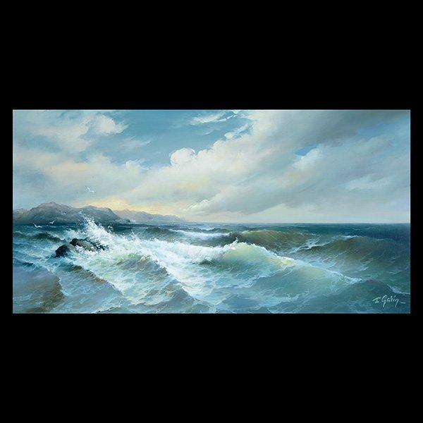"EUGENE GARIN ""Crashing Waves"" Oil on Canvas."