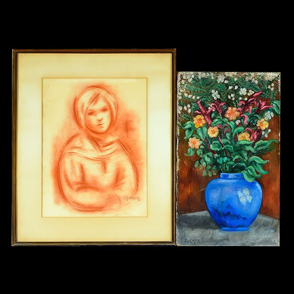 "2 JACQUES ZUCKER ""Portrait Sanguine"" & ""Flowers"" Oils."