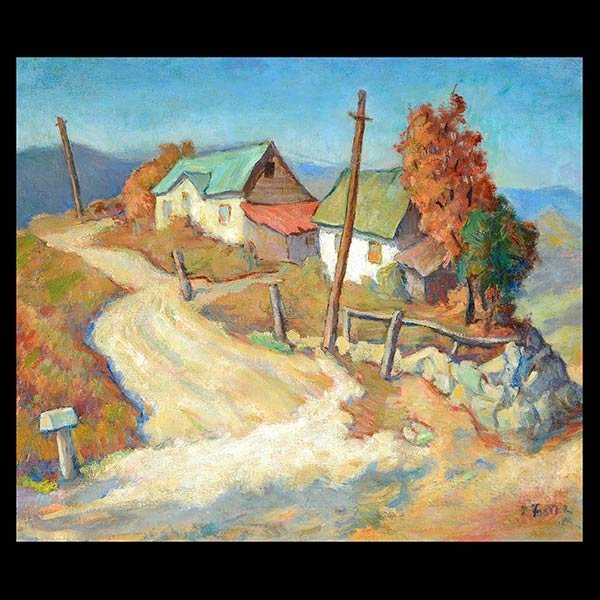 """Attributed to R. JOHN FOSTER """"Two Houses on a Road"""""""