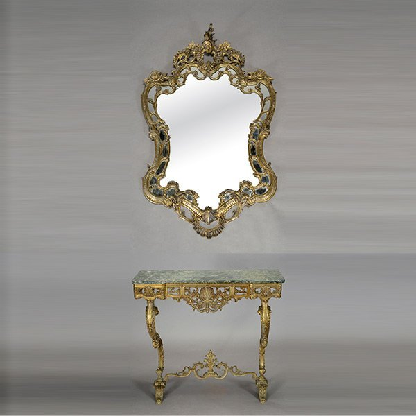 Beaux Art Gilt Bronze Marble Top Console and Matching